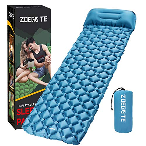 Speedsporting Camping Isomatte Kleines Packmaß - Ultraleichte Isomatte - Aufblasbare Luftmatratze - Schlafmatte fü (Blau mit Kissen)