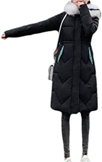 Macondoo Womens Puffer Winter Slim Hoodie Cotton-Padded Mid-Long Down Jackets