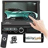 1 DIN Car Radio con Display-7 '' HD Pantalla táctil Plegable Bluetooth Car Radio Sistema de Manos Libres, Mirrorlink, Reproductor MP5 con cámara de visión Trasera + Control Remoto