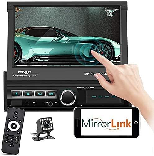 Autoradio 1Din mit Bildschirm - Autoradio Bluetooth mit 7'' HD Faltbar Touchscreen Bluetooth Freisprecheinrichtung,Mirrolink,MP5 Player mit FM/USB/AUX,Autoradio mit Rückfahrkamera+Fernbedienung