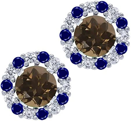 Gem Stone King 1.28 Ct Round Sterling Ranking TOP16 Silver Quartz Smoky Max 85% OFF Brown