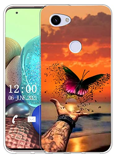Sunrive Cover compatibile con Google Pixel 3A, Custodia Case in molle Trasparente silicone Morbida Flessibile Antigraffio protettiva back custodie(X La farfalla)