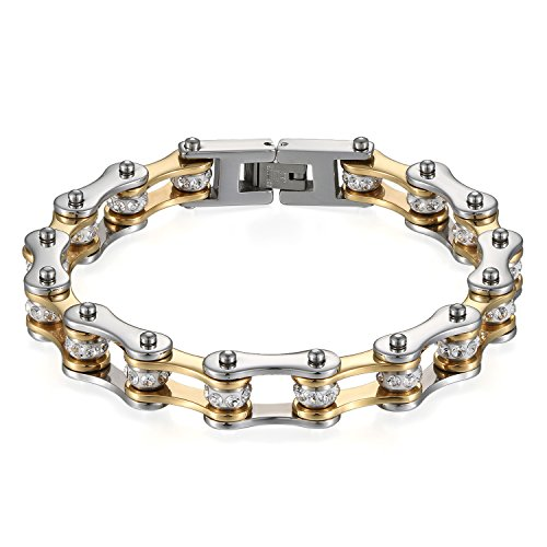 Flongo Herren Armband, Edelstahl Armband Armreif Armkette Fahrradkette Motorradkette Silber Gold mit Strass Kugel Kugelchen Biker für Männer Accessoires Herrenschmuck