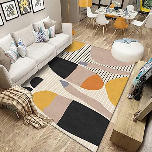 Personalizable La Alfombrae Marrón Alfombra de estar alfombra marrón abstracto geométrico a rayas antideslizante alfombra de lavado de agua de varios tamaños antiácaros Tatami Alfombras160x230cm 5ft 3