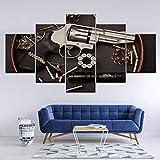 Yyoutop Lienzo Armas de Fuego y Armas Art 5 murales Papel Tapiz Modular impresión de póster Sala de Estar decoración del hogar sin Marco