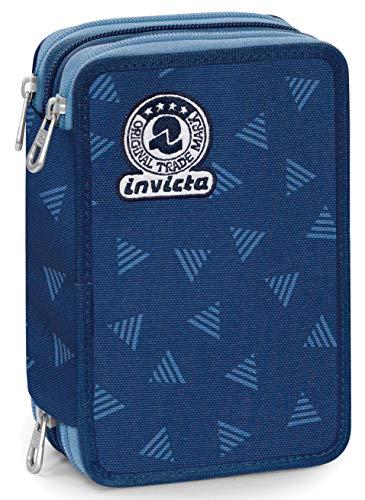 Astuccio 3 Zip Invicta Triangle, Blu, Con materiale scolastico: 18 pennarelli Giotto Turbo Color, 18 matite Giotto Laccato…