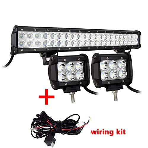 SKYWORLD Barra de luz LED, 20 126W Led Off Road Light Bar para 4x4 ATV UTV Combo focos Inundación Trabajo Lámpara, 4 18W Focos LED Tractor con cableado para Coche SUV Off-road Camión Moto Barco