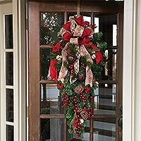 S&C Live クリスマス リース クリスマス スワッグ 北欧風 60cm 玄関ドア フロア クリスマス飾リ 玄関ドア 壁掛け 屋外 松かさ 松ぼっくり 鮮やかな赤い実 ベリー ビンテージ鈴 ビンテージベル ボリューム満点ビッグリボン付 レッド 赤  癒し 家族用 職場用 定番デザイン クリスマスデコレーション 壁 屋外 リビング クリスマスリース スワッグ ホテル 店舗 ビル ロビー X'mas リース 玄関 リース フラワー ドアチャーム 造花 アート お店装飾#18306 (02, 60㎝)
