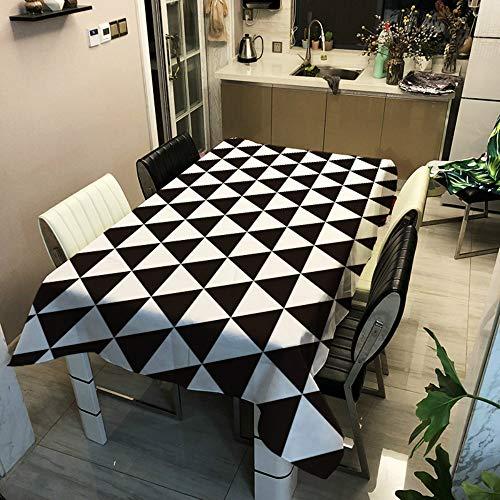 Manteles Mesa Impresión 3D Mantel, Morbuy Geometría Enrejado Rectangular Impermeable Antimanchas Lavable Poliéster Manteles para Cocina Salón Comedor Decoración del Hogar (Blanco Negro 6,140x180cm)