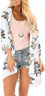 e9b5c31999ff PINKMILLY Women's Floral Print Kimono Sheer Chiffon Loose Cardigan