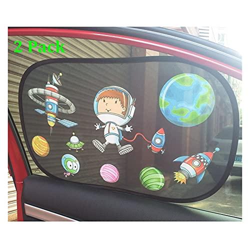 WWWL Parasol de Coche 2 Paquete de la Ventana Lateral de la Ventana de Dibujos Animados Cubierta de Bloqueador de Sol de Sol electrostático adsorción Auto Coche Sol Visor de Sol para niños niños