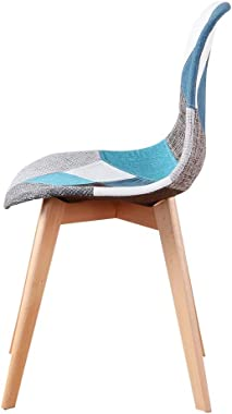 N/A Lot de 4 chaises Patchwork scandinaves, Fauteuil de réception en Lin, Fauteuil Restaurant, Dossier rembourré, Bleu Patchw