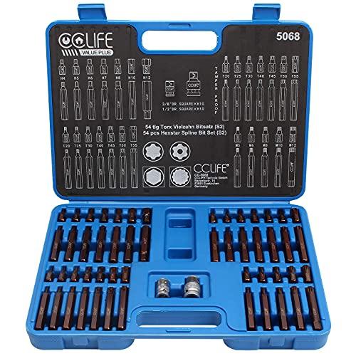 CCLIFE 54pcs S2 XZN Juego de puntas de vaso Puntas Torx H4-H12 M5-M12 T20-T55 Adaptador de 1 2  y 3 8 Pulgadas