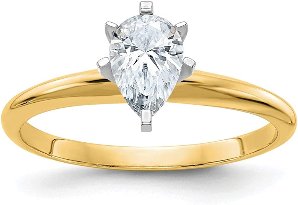 14k Yellow Gold 7/8ct. D E F Pure Pear Moissanite Solitaire Band Ring Size 5.00 Engagement Gsh Gshx Fine Jewelry For Women Gifts For Her