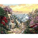 大人と子供のための数字でペイント マウンテンリバーストーンハウス Diyの油絵ブラシでキャンバスを描く数字で描く装飾装飾祭ギフト-16x20インチフレーム付き