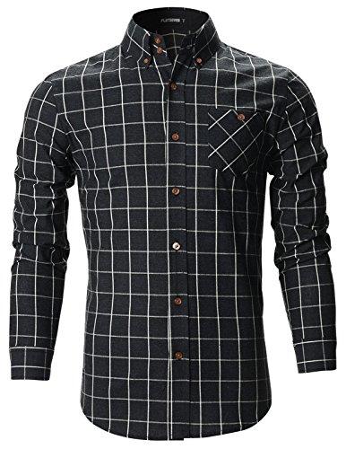 FLATSEVEN -  Camicia Casual - Uomo SH175 Black Large
