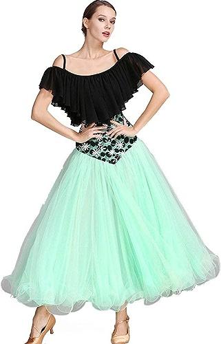 JINPENGRAN pour Les Robes de Bal Les Les dames Perforhommece en Mousseline de Soie Dentelle Art Soie Volants Manches Courtes Robe Haute,vert,XL