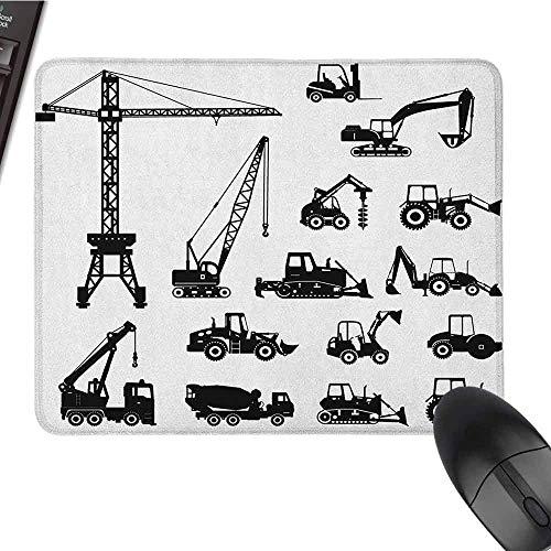 Bouw Toetsenbord Mousepad Waterbestendig Zwart Silhouettes Beton Mixer Machines Industriële Set Vrachtwagens Tractoren
