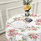 ALAZA Pink Rose Flower Floral 60 x 60 Inch Table Cloth for Round Tables with Elastic Tablecloth Anti Wrinkle Table Cover for Dining Kitchen Parties