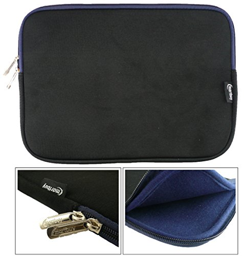 Emartbuy® Schwarz / Midnight Blau Wasserdicht Neopren weicher Reißverschluss Kasten Hülsen Abdeckungs Mit Midnight Blau Interieur & zip geeignet für Odys Trendbook 12 Windows Notebook 11.6 Zoll ( 11.6 - 12.5 Zoll Tablet Chromebook Laptop )