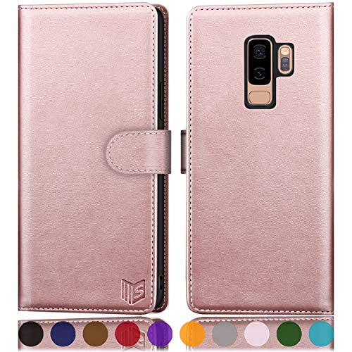 """SUANPOT for Samsung Galaxy S9+ / S9 Plus 6.2 (Non S9 5.8"""") Leather Wallet case with RFID Blocking Credit Card Holder,PU Flip Folio Book Cell Phone Cover Shockproof case Pocket for Men Women Rose Gold"""