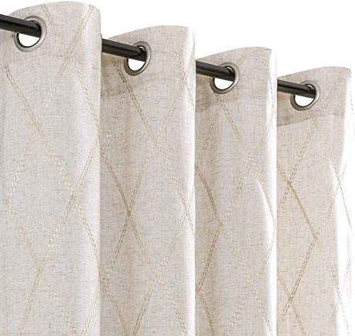 """Linen Textured Curtains for Living Room Long Embroidered Design Window Curtains Privacy Flax Linen Look Window Treatment Set for Bedroom Grommet Top 2 Panels 84"""" Beige"""