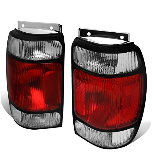 Replacement for 1995-1997 Ford Explorer/Mercury Mountaineer Pair Red/Clear Lens Tail Light Brake Lamps 1995 95 Ford Explorer Tail