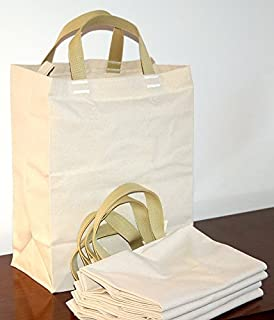 Turtlecreek Made in USA Cotton Canvas Reusable Grocery Tote Bags - Heavy Short Tan-Yellow Handles - Regular Size - 5 Pack