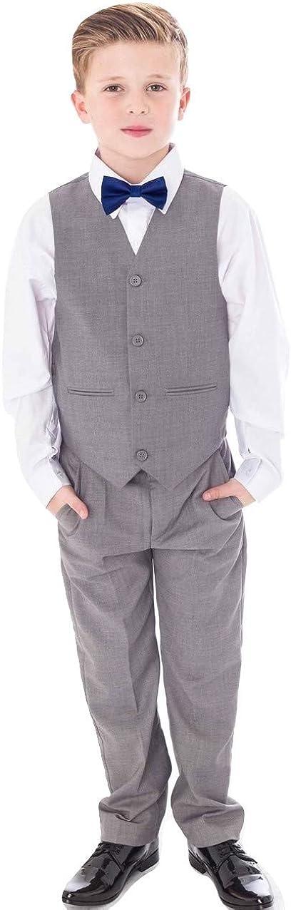 Vivaki 4pc Grey Suit with Navy Bow tie