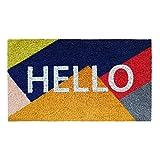 Banzaii Felpudo de Coco 40 x 70 cm Fijado a una Base de PVC Antideslizante con Efecto Glitter – Hello Coloreado