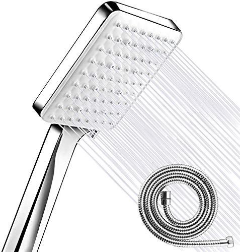 Cabezal de ducha de alta presión 6 modos de rociado con botón de clic fácil, cabezal de ducha potente de repuesto ajustable universal, cabezales de ducha de alta presión con manguera de 1,5 m, cromo