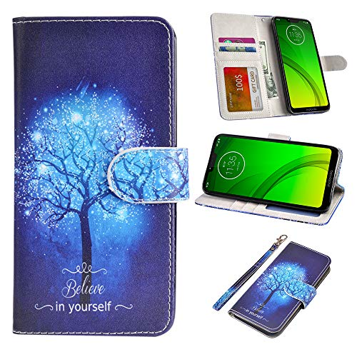 UrSpeedtekLive Moto G7 Power Case, Moto G7 Supra Case, Premium PU Leather Wristlet Flip Wallet Case Cover with Card Slots & Stand for Motorola Moto G7 Power 6.2 inch - Believe in Yourself