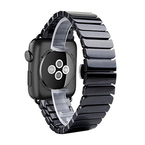 HUANLONG Apple Watch 38mm Band, Luxury Ceramic Bracelet Watch Band Strap Replacement Wrist Band for Apple Watch & Sport & Edition Iwatch 42/38mm with Adapter (Ceramic Black 38mm)