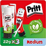Pritt Stick Original Multi Pack/Childproof and Washable Glue Stick for Paper, Cardboard and Felt / 3 x 22g
