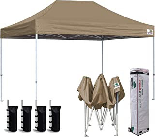 Eurmax 8 x 12 Ez Pop Up Canopy Party Tent Sport Outdoor Instant Canopies with Deluxe Wheeled Storage Bag (Khaki)