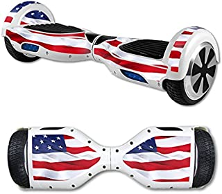 MightySkins Skin Compatible with Hover Board Self Balancing Scooter Mini 2 Wheel x1 Razor wrap Cover Sticker American Flag