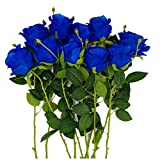 Another Gifts Artificial Silk Rose Flower Bouquet Home Decor Wedding Party Garden, Pack of 10 (Blue)