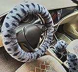 3pcs/set Universale ispessimento Pelliccia ecologica Inverno caldo Fluffy furry Coprivolanti per auto+Coperchi del cambio+Coperture freno a mano (gray leopard)