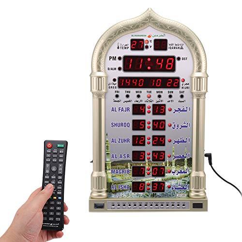 Not application Azan Clock-Led Prayer Clock-Number Display Wall Clock-Read Home/Office/Mosque Digital Azan Clock/Decorative Clock (Golden)