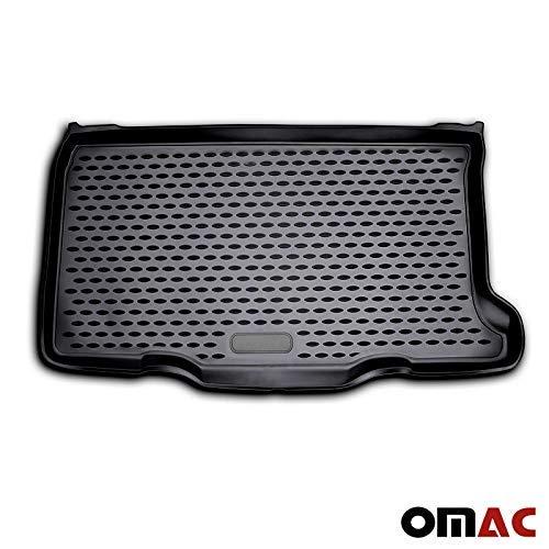 OMAC GmbH Auto Kofferraummatte Laderaumwanne Kofferraumshutz Kompatibel mit FIAT 500-500C 2007-2021 3D Passform Hoher Rand Antirutschmatte Gummi Matte Kofferraumwanne schwarz