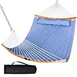 SUNCREAT Portable Folding Hammock with Curved Bamboo Spreader Bar, Carrying Bag, Large Outdoor Double Hammock for Patio, Garden, Backyard, Porch, Blue