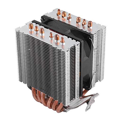 Ventilador de CPU de 9X9X2.5cm, CPU de computadora con 6 tubos de calor, ventilador de radiador de tubo de calor en forma de U con disipación de calor rápida, radiador interno de computadora (rojo)