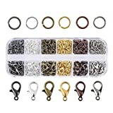 Pandahall 6 Colors Jewelry Finding Kits with 12mm Open Jump Rings & 5mm Lobster Claw Clasp for DIY Bracelet...