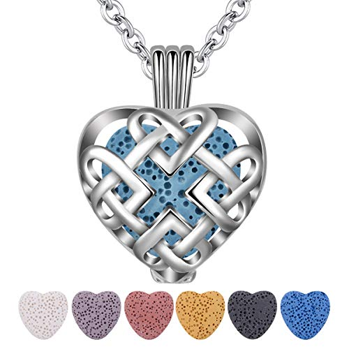 INFUSEU Heart Aromatherapy Essential Oil Diffuser Necklace for Women Teen Girls Irish Celtic Love Eternity Knot Jewelry with 7 Lava Rock Stones
