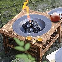 木製ラック付きの素朴な鋳鉄製ファイヤーボウル、屋外炭焼ファイヤーピット-大きな暖炉テーブル、二重木製棚、裏庭/パティオ/ポーチ/ビーチ用