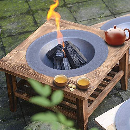 Doppelschichtiger Feuerstellentisch, eingebaute Feuerschale mit Holztisch, Terrassenheizung im Freien, Feuerstelle aus Metall, Gartenkamin für Camping