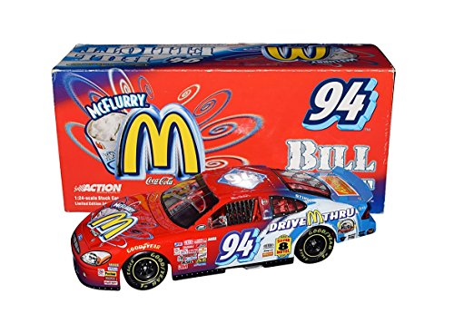 AUTOGRAPHED 2000 Bill Elliott #94 McDonalds Drive Thru Racing MCFLURRY ICE CREAM CAR (Winston Cup Series) Ford Taurus Signed 1/24 Scale NASCAR Diecast Car with COA (1 of only 9,684 produced!)