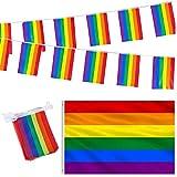 Regenbogenflaggen-Set für Gay Pride Day – große Regenbogen-Flagge zum Aufhängen, 9 x 152 cm – 5 m, Regenbogen-Banner, Wimpelkette (20 Flaggen) für den Außenbereich, LGBT-Pride-Festivaldekorationen