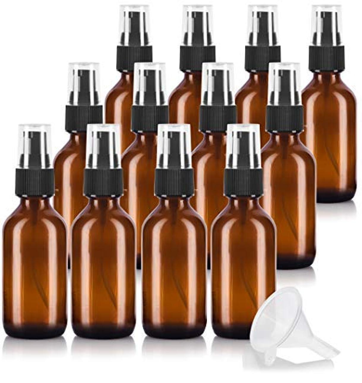 ジャーナルキュービック読みやすい2 oz Amber Glass Boston Round Treatment Pump Bottle (12 pack) + Funnel and Labels for essential oils, aromatherapy, food grade, bpa free [並行輸入品]