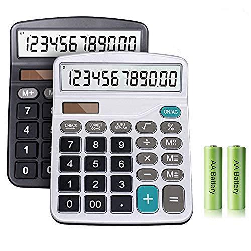 Taschenrechner, Große Tasten Großes Display Taschenrechner, 12 Stellig Standard Taschenrechner, Solar und Batterie Bürorechner, Einfache Rechenmaschine (Schwarz+Silber)